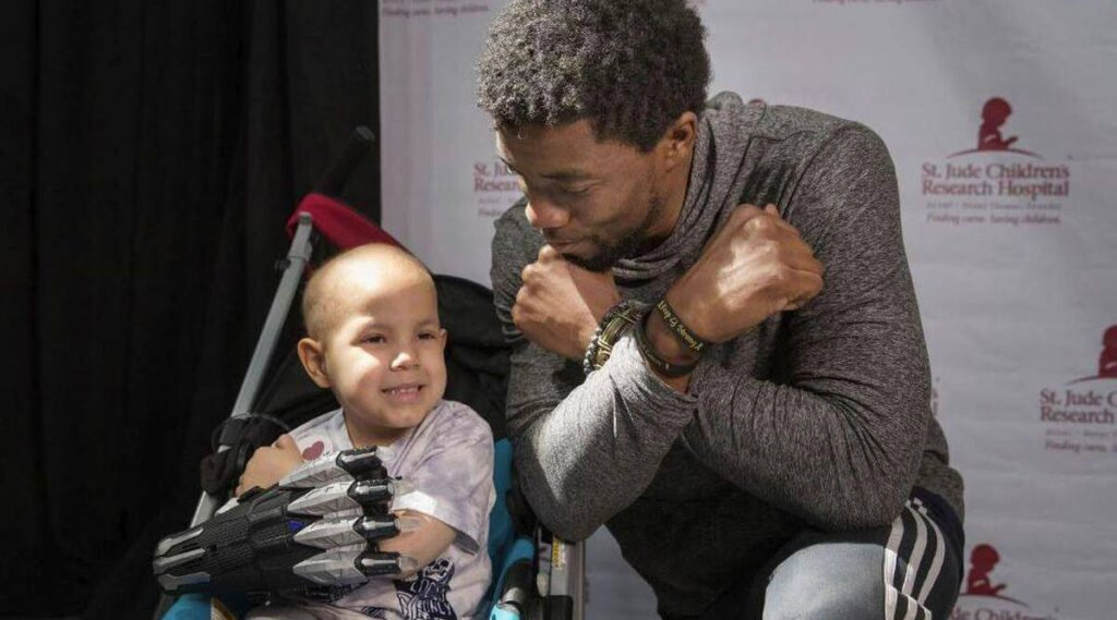 Chadwick Boseman at St. Jude Children's Hospital visiting children battling cancer