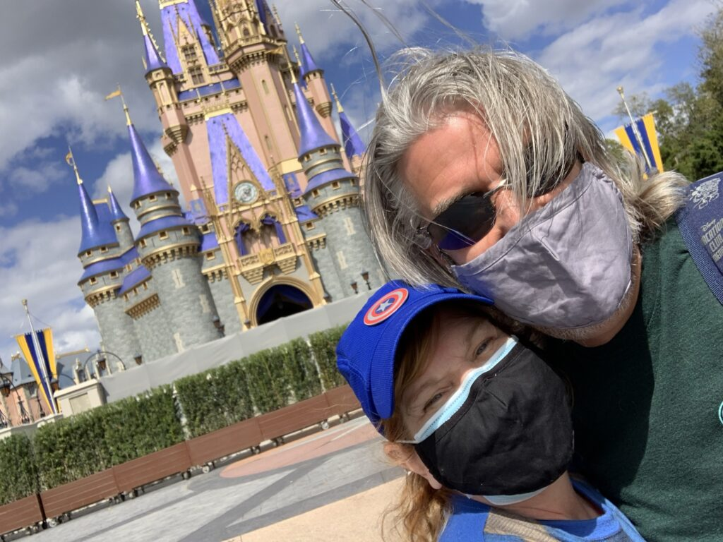 Tom and Michelle in front of Cinderella Castle in Magic Kingdom - Our February 2021 Walt Disney World Trip Recap