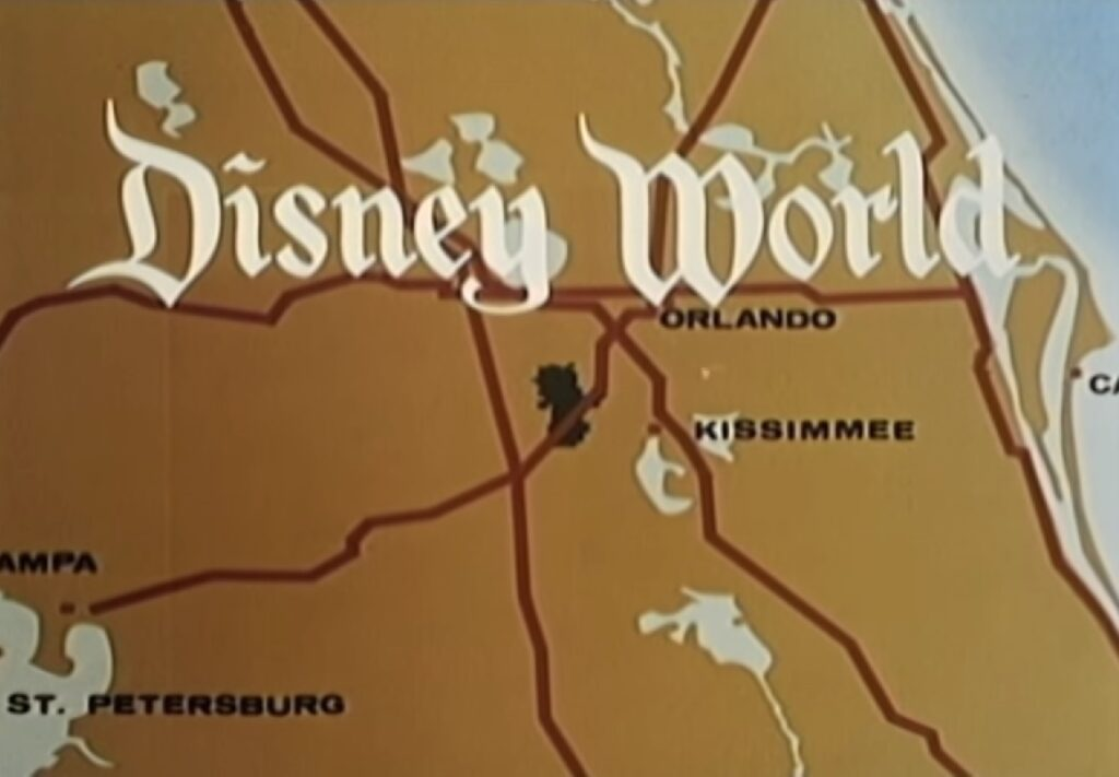 Disney Wold Map on the Television Announcement - Countdown to Walt Disney World's 50th Birthday - Part 1 - Disney's Map to the Magic, Kingdom