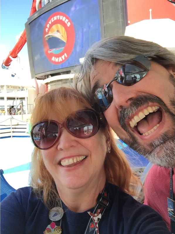 Tom & Michelle at the Sail Away Party - Eastboud Trans Atlantic Cruise - Disney Magic - May 2016 - Disney Cruise Line - A Wish And So Much More