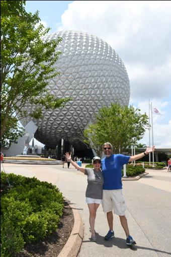 Tom & Michelle at Spaceship Earth in Epcot - Walt Disney World - July Disneyland & Walt Disney World Visit Recap