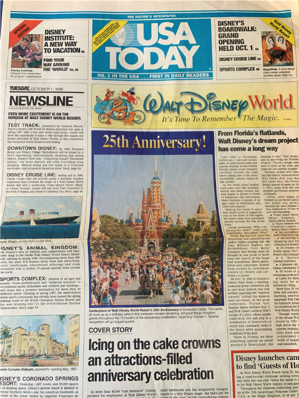 USA Today cover from Walt Disney World's 25th Birthday - Countdown To Walt Disney World's 50th Birthday - Part 5 - Disney's Wonderful WORLD Of Color