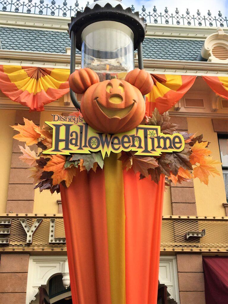 HalloweenTime sign on a Disneyland Lampost - HaloweenTime Food & Fun At Disney Parks