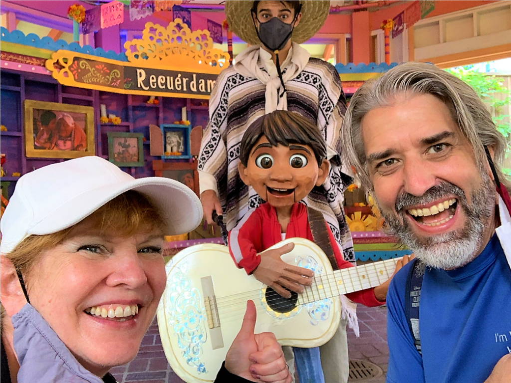 Tom and Michelle with Miguel from Coco at Disney California Adventure Park - September Visits To The Disneyland Resort