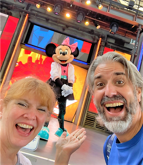 Tom and Michelle with Minnie Mouse at Disney California Adventure Park - September Visits To The Disneyland Resort
