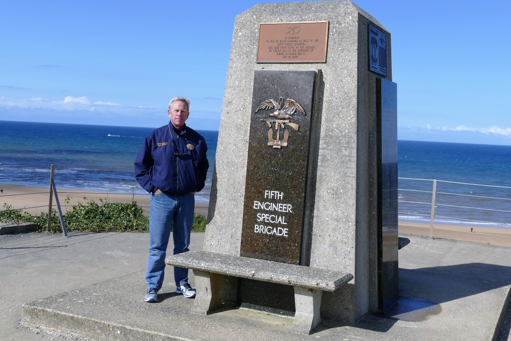 Engineers lead the way! Fifth Engineer Special Brigade monument at Omaha Beach.