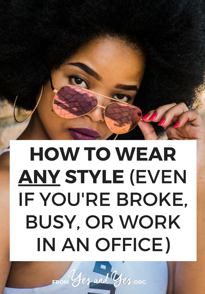 Wouldn't it be great if you could wear any style? Regardless of your income, mental space, body type, or workplace? The good news is: you can! Click through for body positive style tips and style advice!