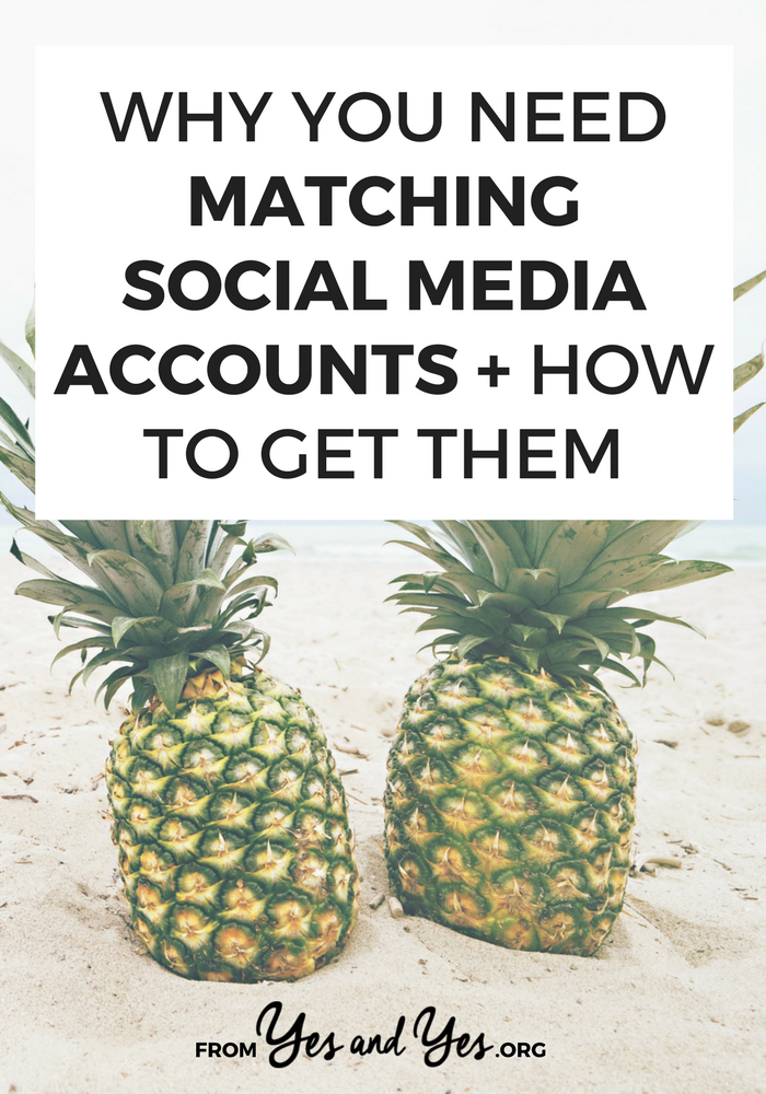 Yup, you need matching social media accounts - click through for tips on how to set up matching social media handles + what to do if you have a common name!