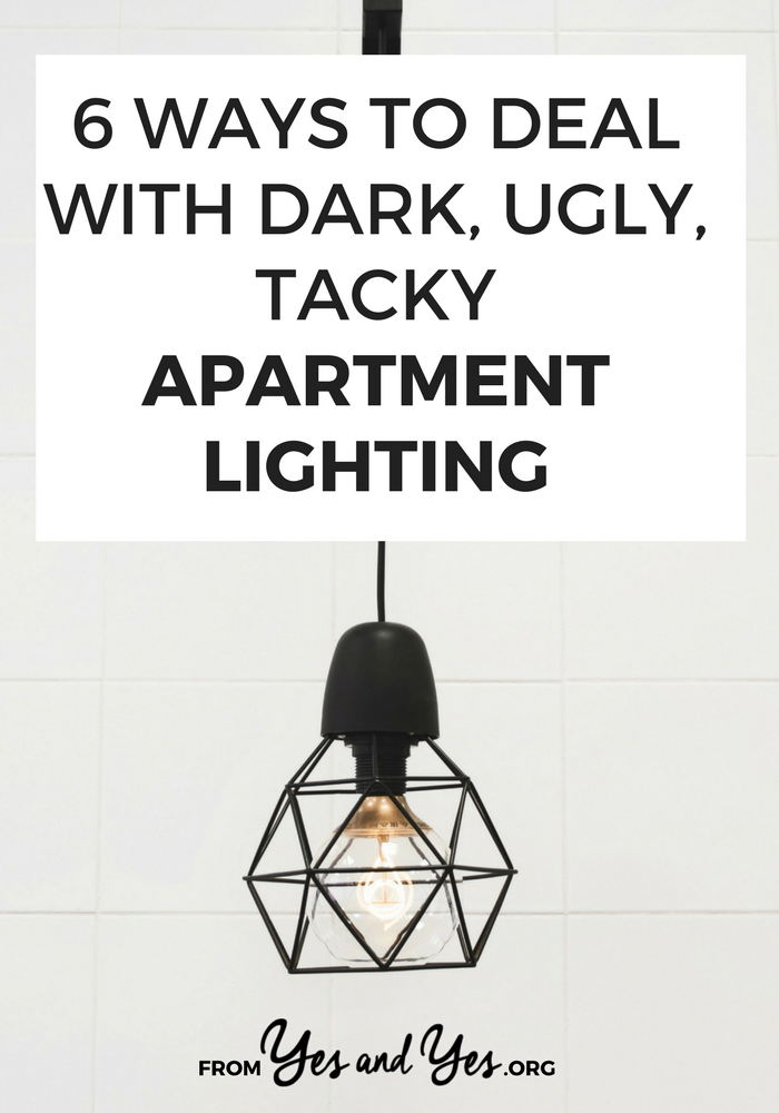 Got bad apartment lighting? You don't need to be an electrician to upgrade your light fixtures! Click through lighting ideas that will help you deal with dark apartments and tacky light fixtures!