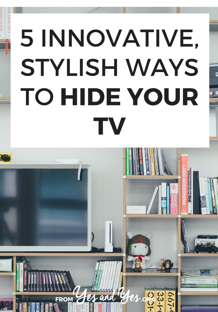 Want to hide your tv without getting one of those huge, room-dominating cupboard things? Click through for tons of great ideas! // yesandyes.org