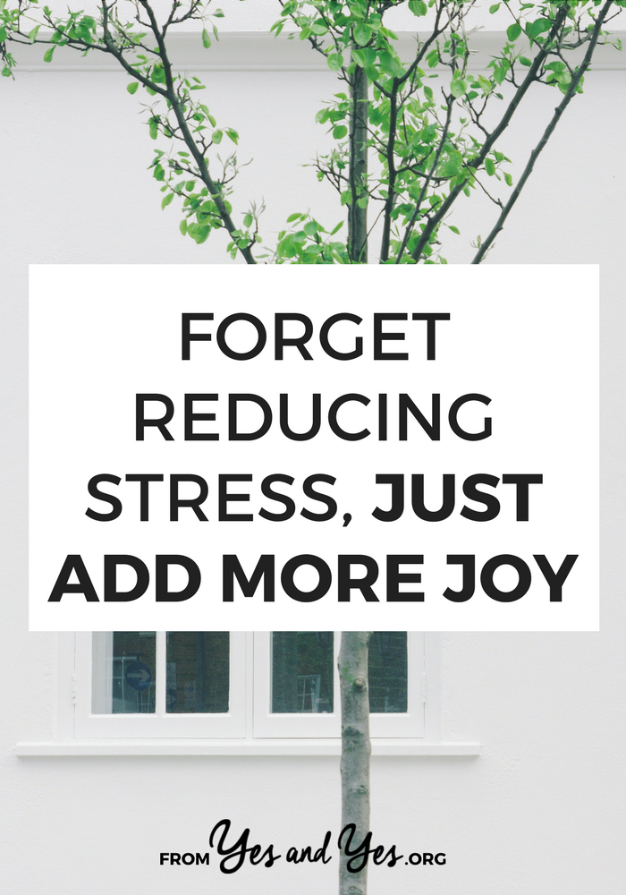 Sick of listicles about reducing stress? This isn't one of them. This is about adding joy. When we add more joy to our lives there's simply less space, time, and energy for stress. #selfhelp #selfdevelopment #happinesstips #feelbetter #stressreduction