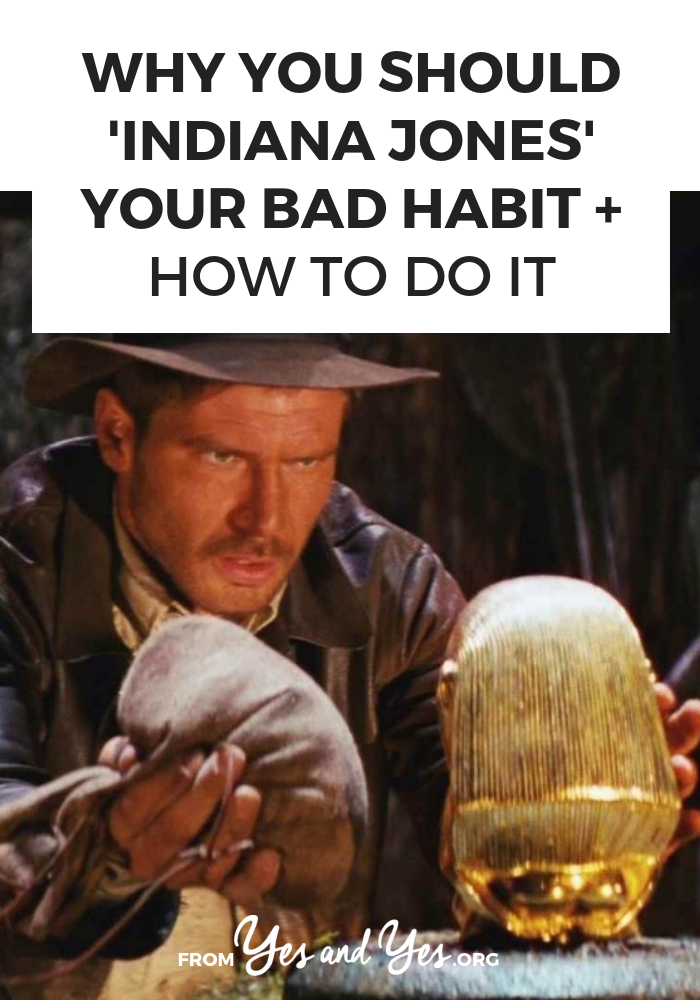 Want to break a bad habit? Replace your bad habit rather than trying to go cold turkey or be too virtuous! Tap through for ideas about less-bad habits you can use to replace your bad ones! #goalsetting #habitchange #badhabits #goodhabits