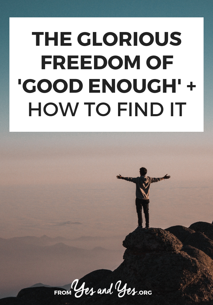 "Want to experience the freedom of ""good enough""? Let go of perfectionism and optimizing and upgrading everything? Tap through and read more! #behappier #howtobehappier #howtofeelhappier #happierthanever #waystobehappier #tipstobehappier #happybooks #waystomakeyourselfhappier #howtobehappy #happinessactivities #happinesshabits #happinessmindset"