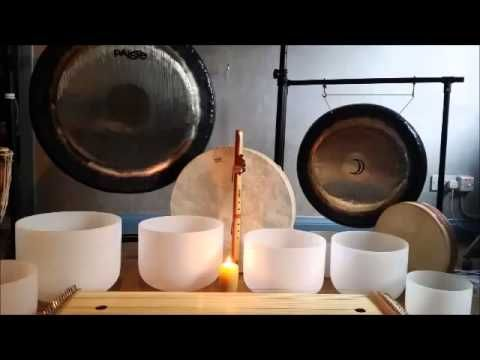 Live Sound Bath Meditation with Crystal Bowls, Gongs, Shammanic Drumming - YouTube