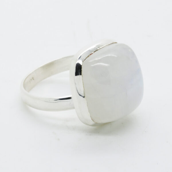 Bluefire Rainbow Moonstone Square-Shaped Ring in Silver