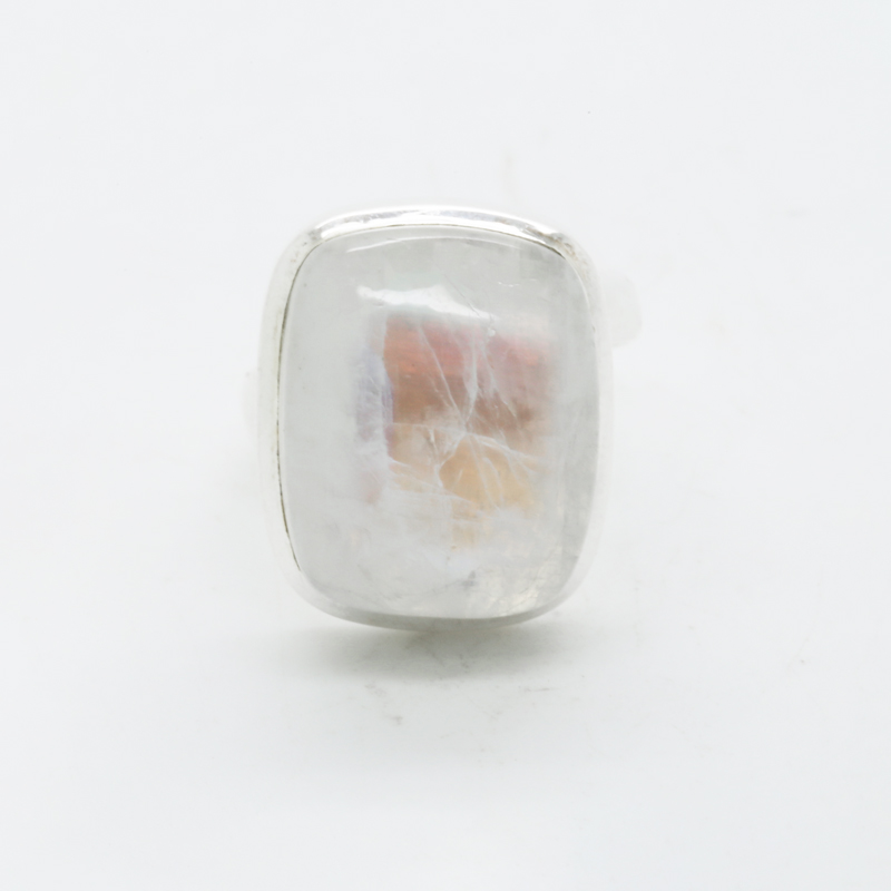 Bluefire Rainbow Moonstone Rectangle-Shaped Ring in Silver
