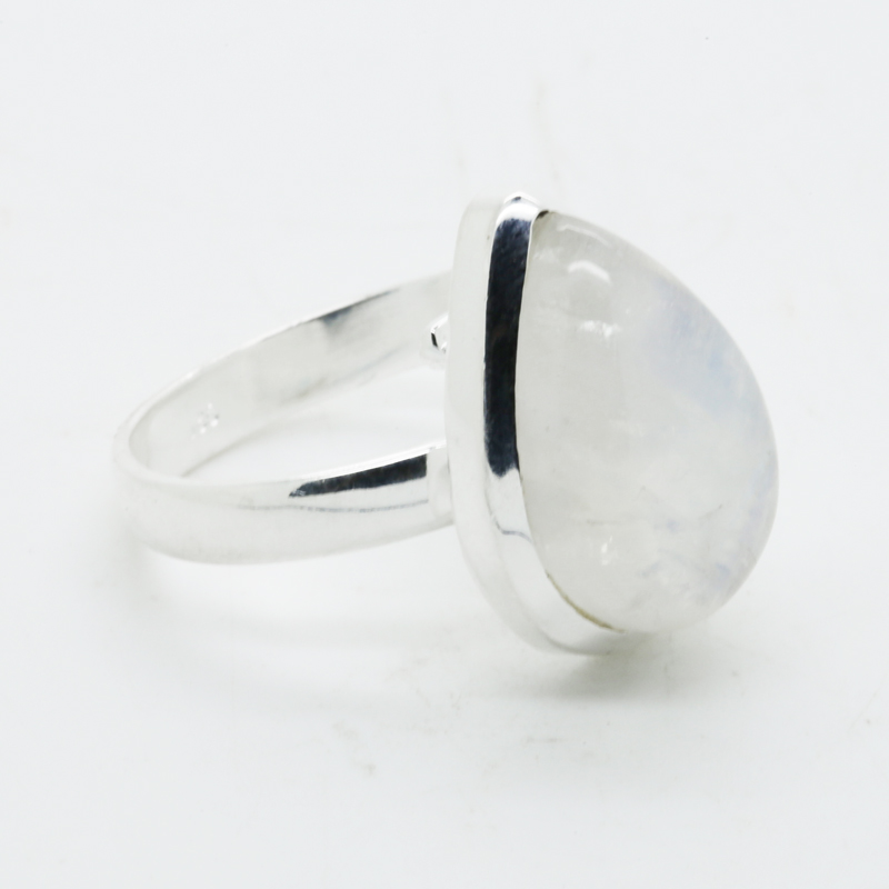 Bluefire Rainbow Moonstone Pear -Shaped Ring in Silver