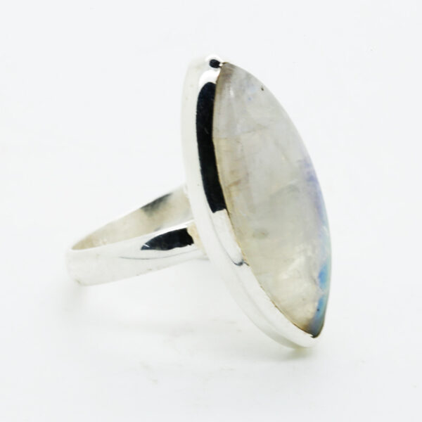 Bluefire Rainbow Moonstone Marquise-Shaped Ring in Silver