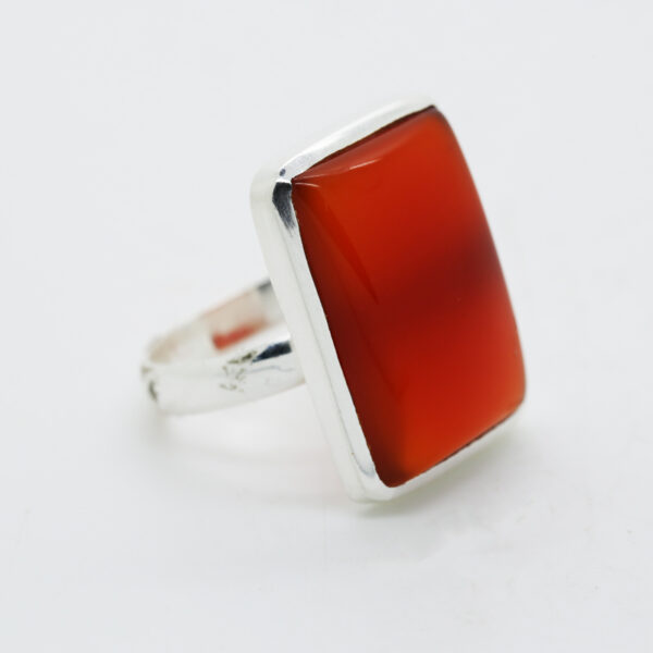 Carnelian Rectangle-Shaped Ring in Silver