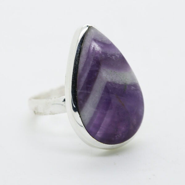 Amethyst Lace Pear -Shaped Ring in Silver