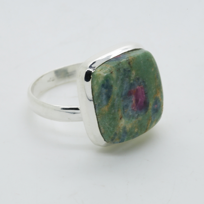 Ruby Fuchsite Square-Shaped Ring in Silver