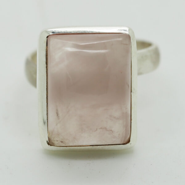 Rose Quartz Rectangle-Shaped Ring in Silver