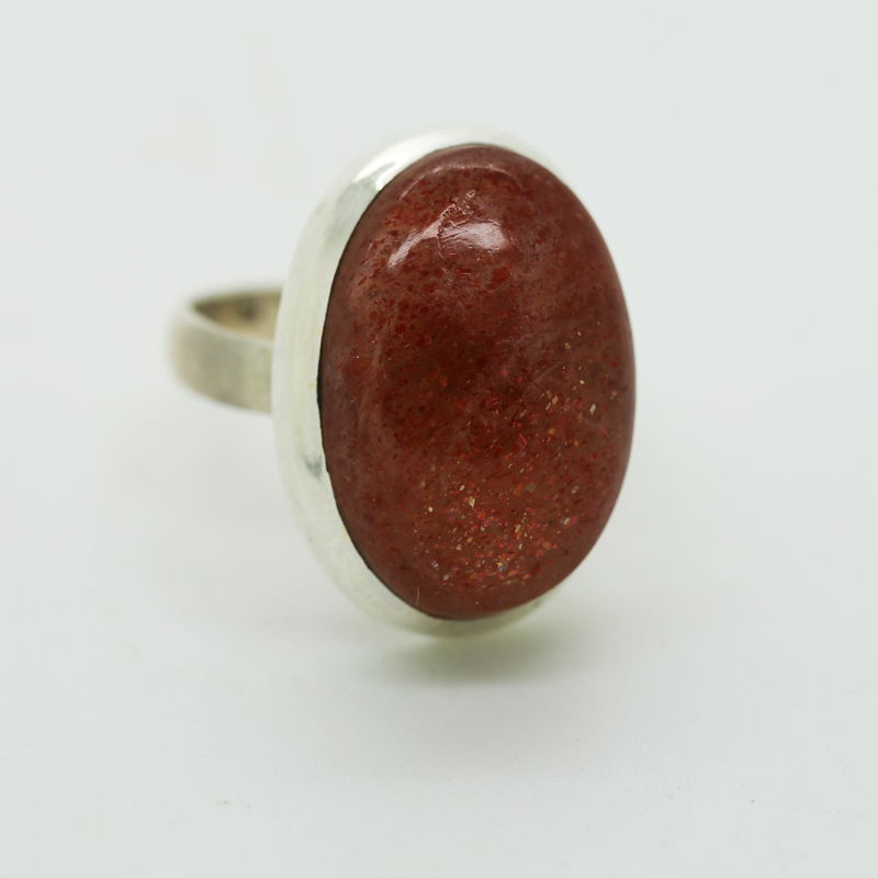 Sunstone Oval-Shaped Ring in Silver