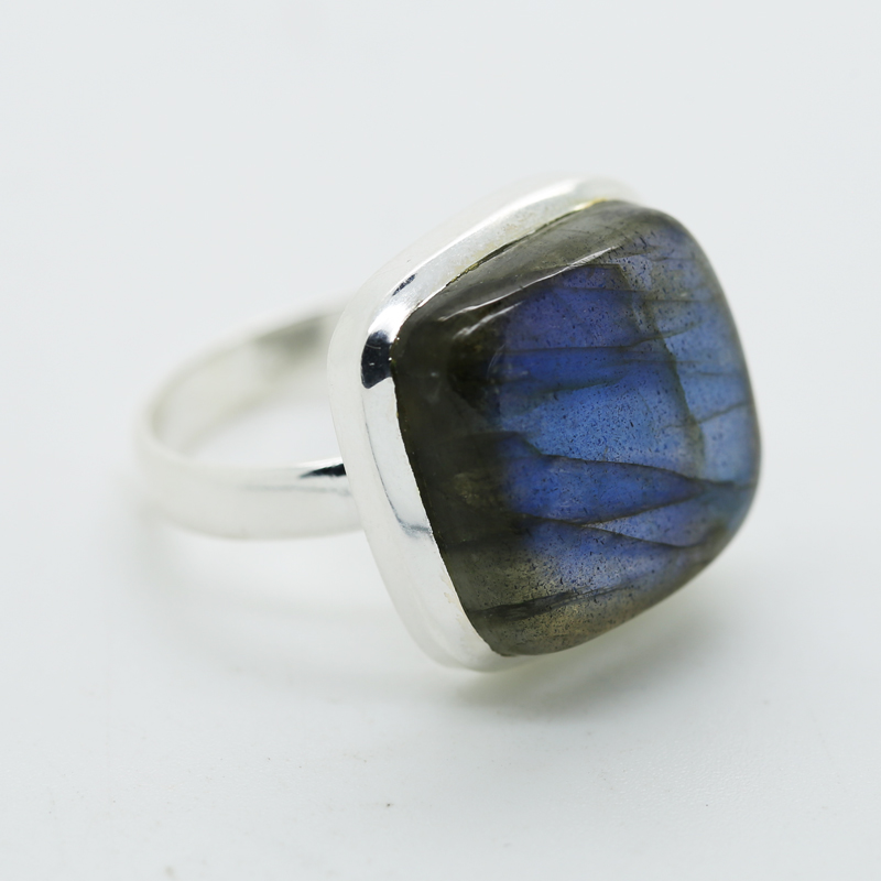 Blue Fire Labraonite Cushion-Shaped Ring in Silver