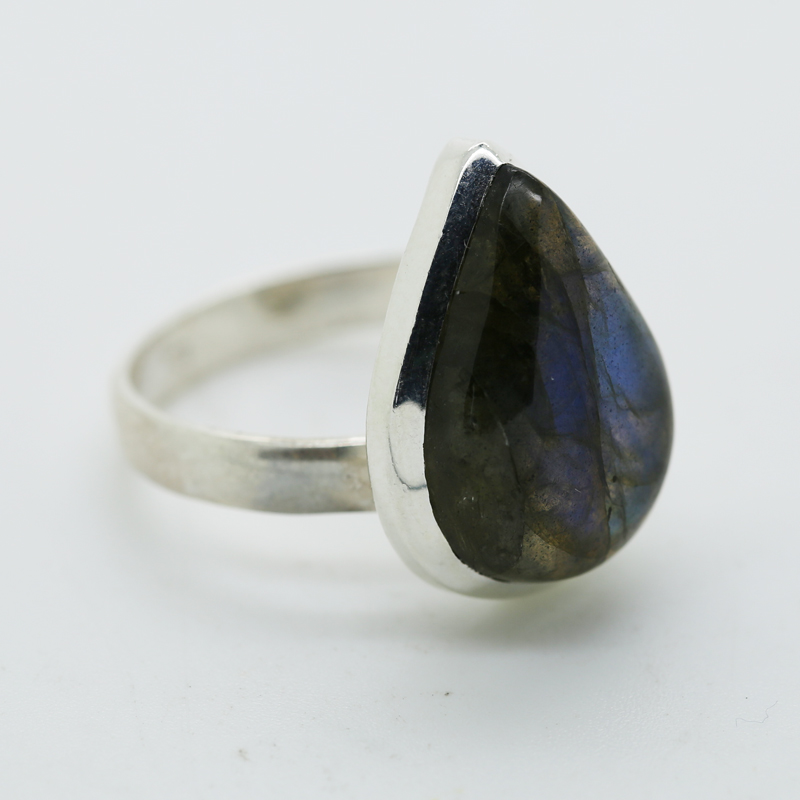 Blue Fire Labraonite Pear-Shaped Ring in Silver