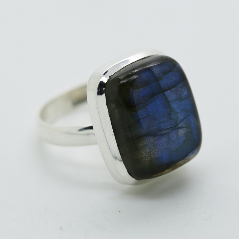 Blue Fire Labraonite Rectangle-Shaped Ring in Silver