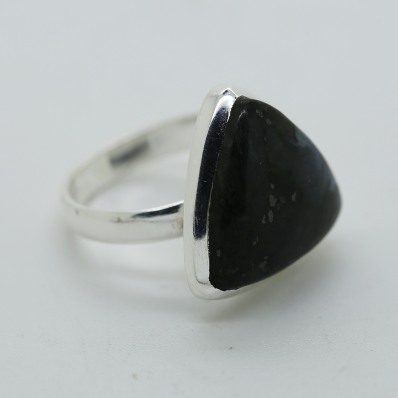 Larvikite Black Moonstone Trillion-Shaped Ring in Silver