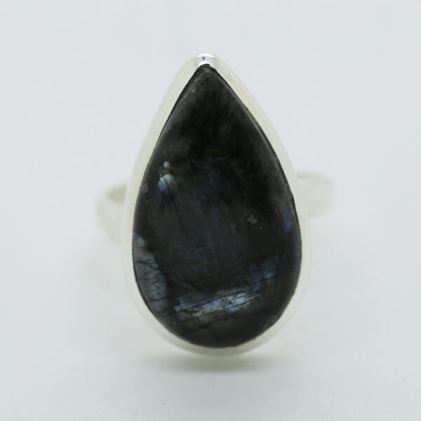 Larvikite Black Moonstone Pear-Shaped Ring in Silver