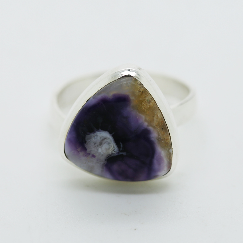 Violet Flame Opal Trillion-Shaped Ring in Silver