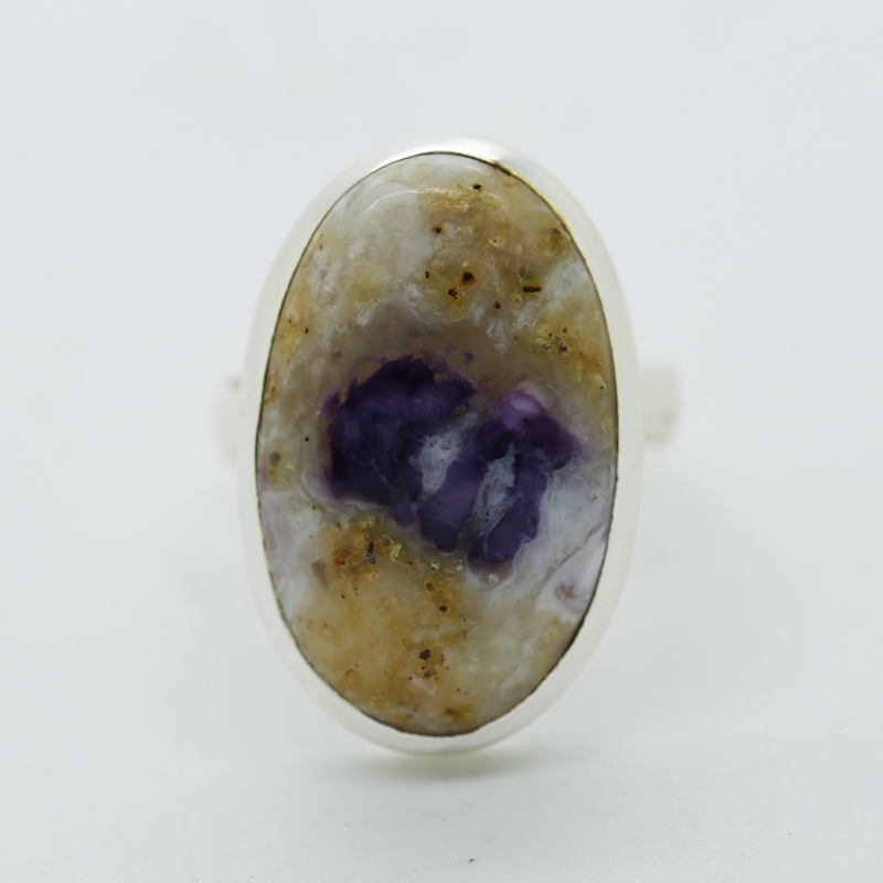 Violet Flame Opal Oval-Shaped Ring in Silver
