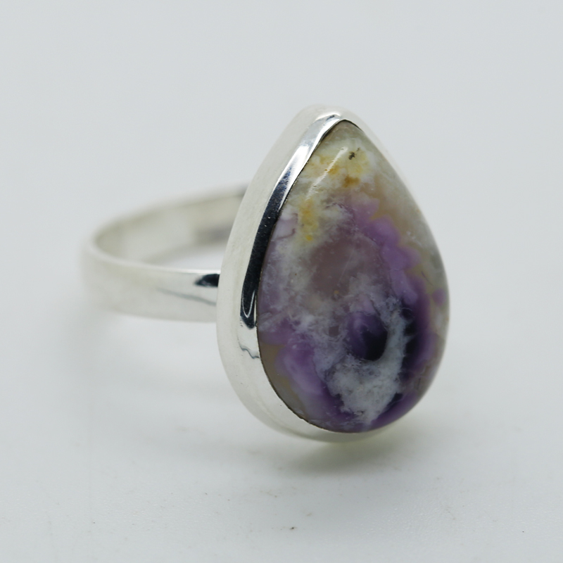 Violet Flame Opal Pear-Shaped Ring in Silver