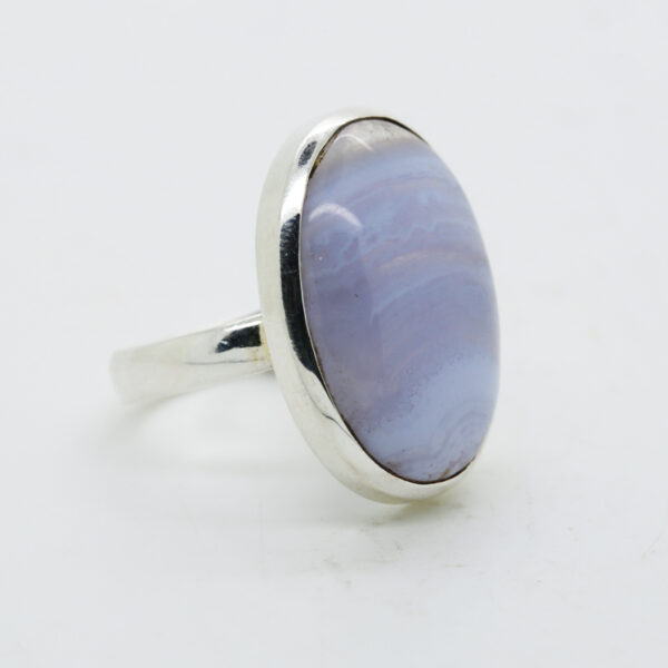 Blue Lace Agate Oval-Shaped Ring in Silver