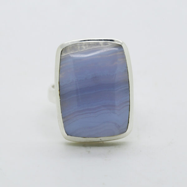 Blue Lace Agate Rectangle-Shaped Ring in Silver