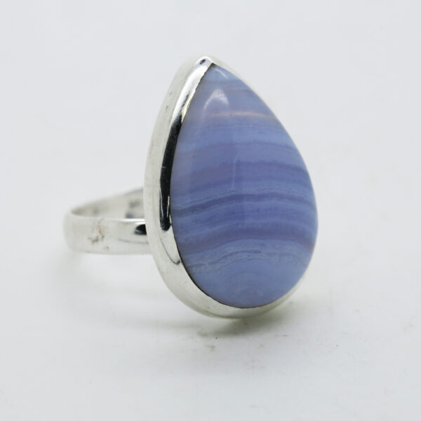 Blue Lace Agate Pear-Shaped Ring in Silver