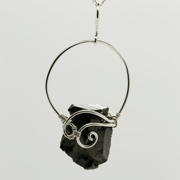 Shungite Organic-Shaped Pendant in Silver