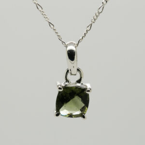 Faceted Moldavite Cushion-Shaped Pendant in Silver