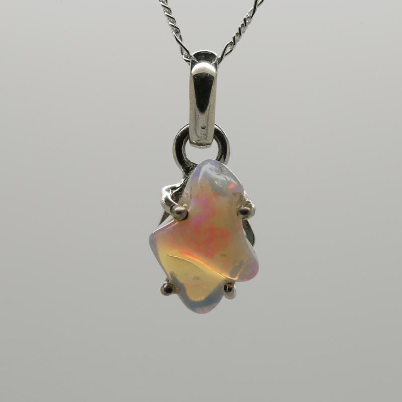 Ethiopian Opal Rough Organic-Shaped Pendant in Silver