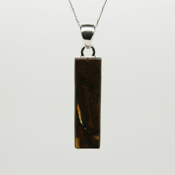 Boulder Opal Rectangle-Shaped Pendant in Silver