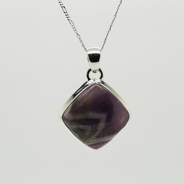 Lace Amethyst Cushion-Shaped Pendant in Silver