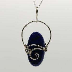 Lapis Lazuli Oval-Shaped Pendant in Silver