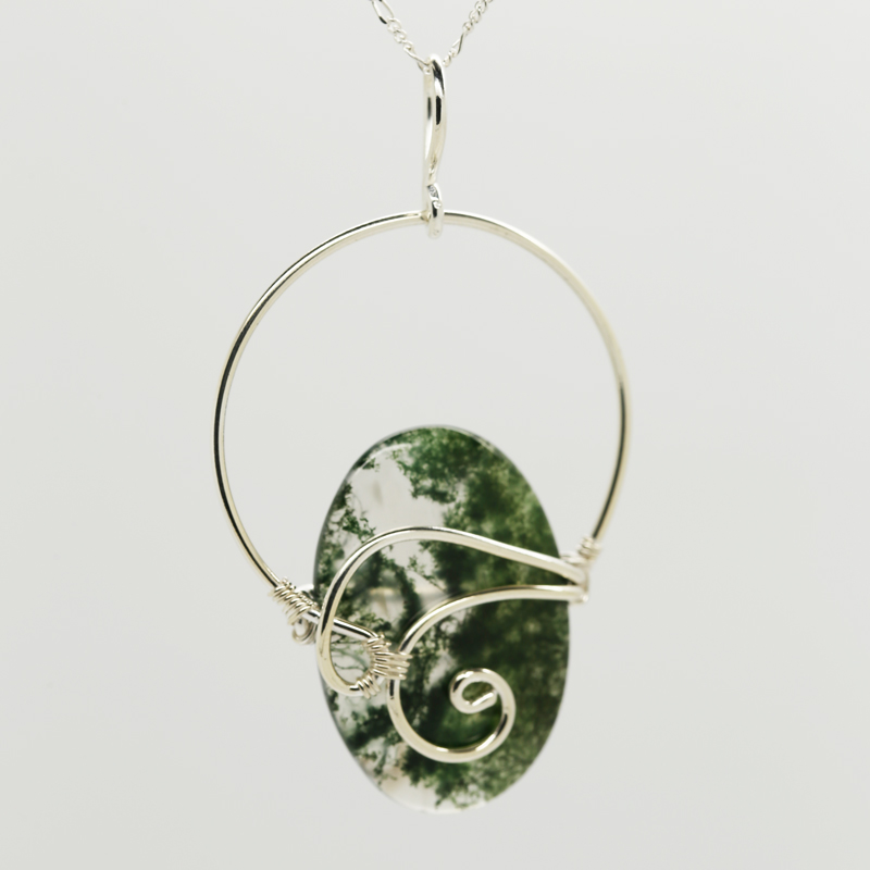 Moss Agate Oval-Shaped Pendant in Silverm