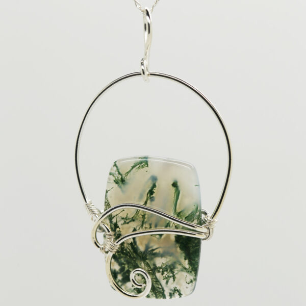 Moss Agate Rectangle-Shaped Pendant in Silver
