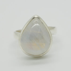 Bluefire Rainbow Moonstone Pear-Shaped Ring in Silver