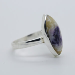 Violet Flame Opal Marquise-Shaped Ring in Silver