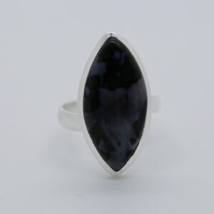 Mystic Merlinite Marquise-Shaped Ring in Silver