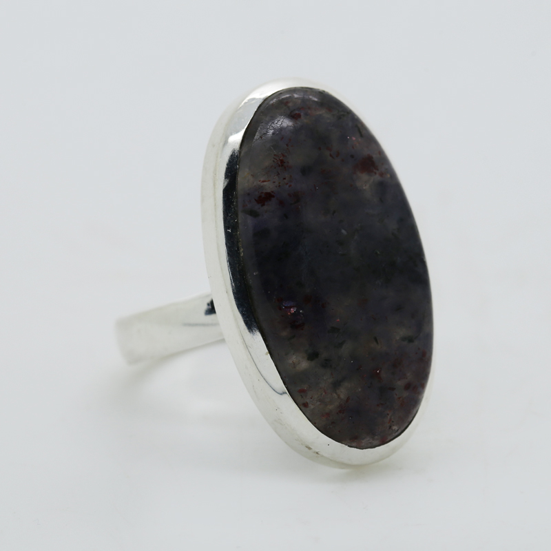 Sunstone Iolite Oval-Shaped Ring in Silver